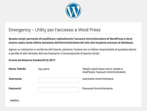 Password WordPress dimenticata