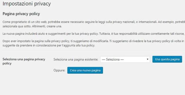 Aggiornamento GDPR WordPress 4.9.6 Sezione Privacy