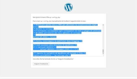 Installare WordPress su server Windows. Installazione WordPress 2 passaggio