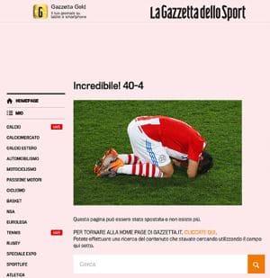 Le pagine errore 404 della gazzetta dello sport