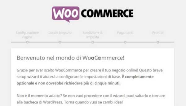 Come funziona WooCoomerce. Pagina di benvenuto