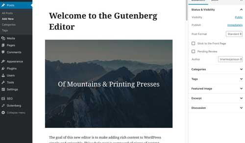 Aggiornamento WordPress 5.0