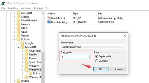 Attivare/Disattivare Windows Defender: impostazioni del registro di sistema