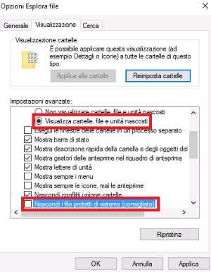 Icone danneggiate in Windows10 - Opzioni Esplora File