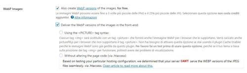 WebP e Shortpixel. Configurazione tag Picture