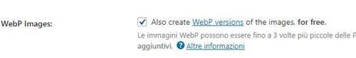 WebP e Shortpixel. attivazione formato WebP