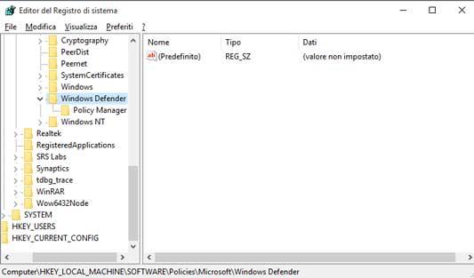 Attivare/disattivare Windows Defender tramite Registro di sistema