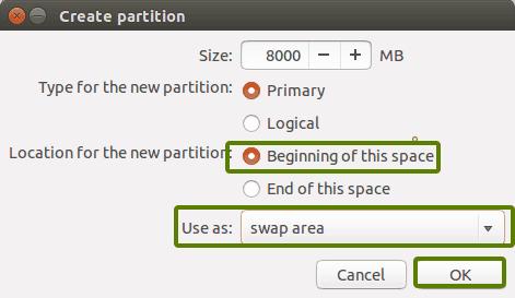 Installare Ubuntu e Win10. Creazione swap area