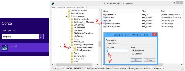 Ottimizzare SSD per Windows. Disattivare chiave di registro Superfetch e e Prefetch