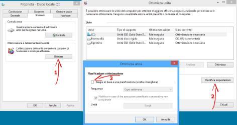 Ottimizzare SSD per Windows. Disattivare la defremmentazione