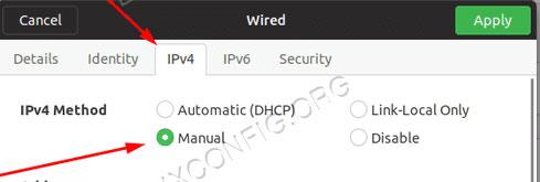Indirizzo IP statico su Ubuntu interfaccia grafica settaggi