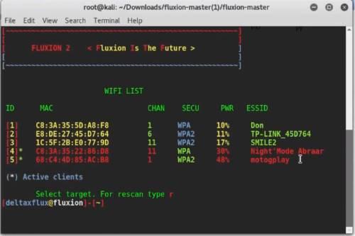 Scansione rete WIFI con Fluxion