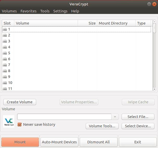Crittografare HDD con VeraCrypt. Screen iniziale