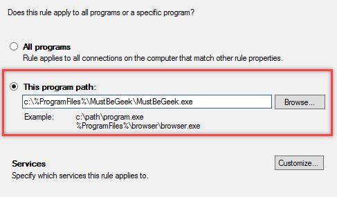 Configurare regola Firewall in Windows - Percorso Programma