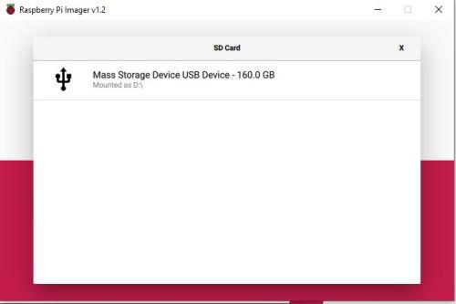 Raspberry Pi Imager - Scelta Disco o Micro SD