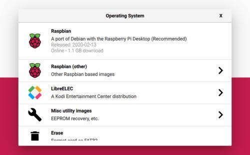 Raspberry Pi Imager - Scelta sistema operativo