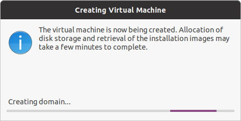 Installare Kvm su Ubuntu - Creazione Virtual Machine in corso