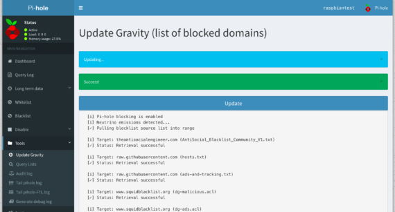 Installare Pi-Hole su Raspberry Pi 4 - Upload Blocklist