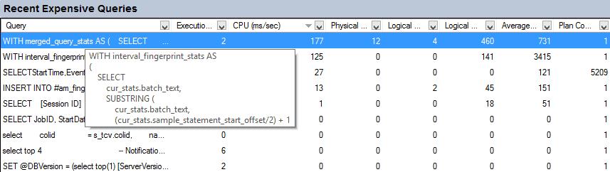 SQL Server Activity Monitor - Costo esecuzione Query