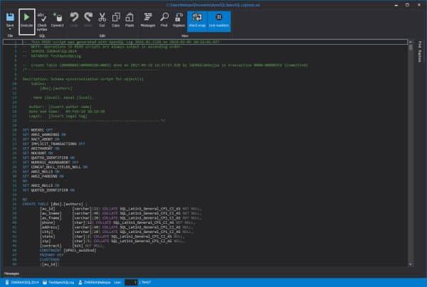 Ripristinare dati in sql server - Editor script