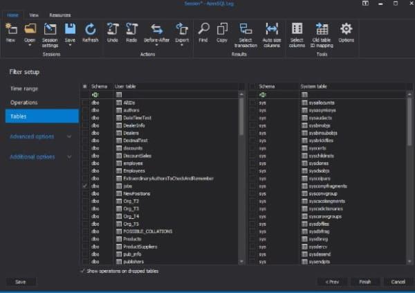 Ripristinare dati in sql server - Filtro Tabelle