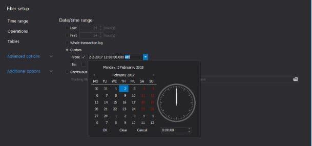Ripristinare dati in sql server - Impostazione filtri