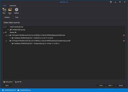 Ripristinare dati in sql server - Selezione Log