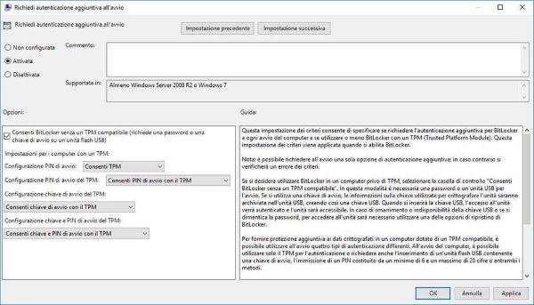 Crittografare HDD con Bitlocker -  attivazione  chip TPM compatibile