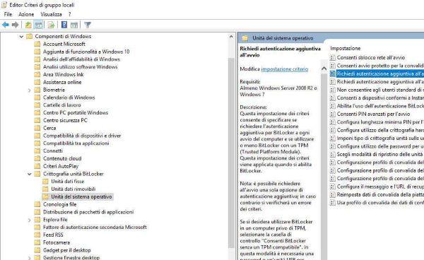 Crittografare HDD con Bitlocker -  attivazione  chip TPM