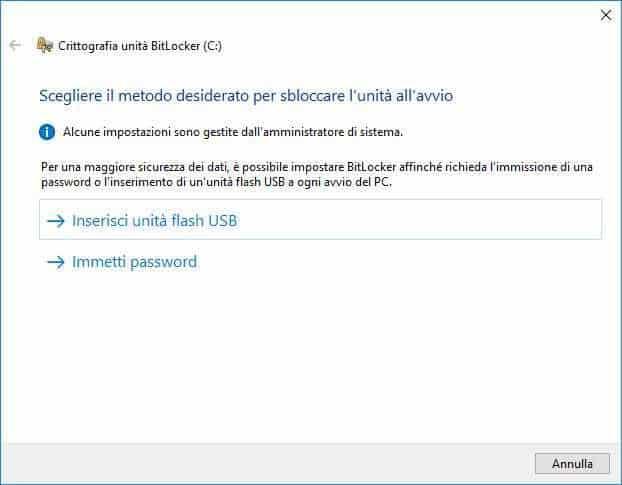 Crittografare HDD con Bitlocker - Metodi di sblocco