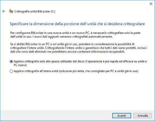 Crittografare HDD con Bitlocker - Scelta modalità