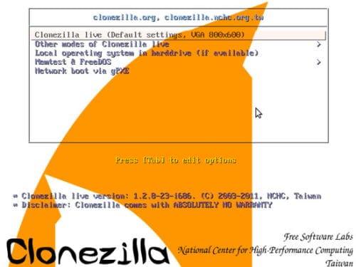 Clonare HDD con Clonezilla - Avvio USB