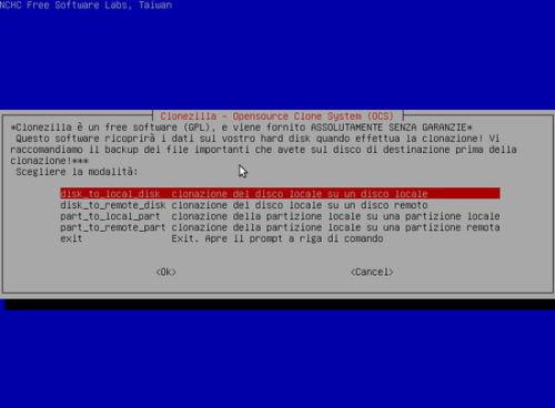 Clonare HDD con Clonezilla -Selezione disk_to_local_disk