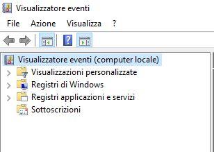Visualizzatore Eventi di Windows - Computer Locale