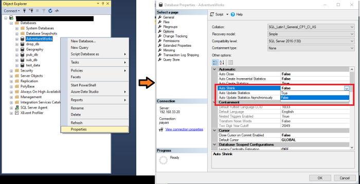 Attivare Autoshrink in SQL Server - Proprietà Database