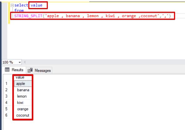 Funzione STRING_SPLIT in SQL Server - Esempio Query