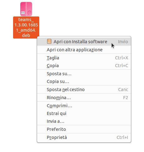 Installare Teams su Ubuntu - Apri con installa software