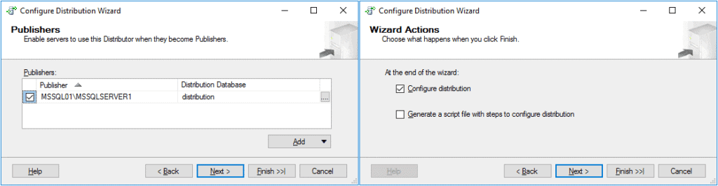 Replication in Sql Server - Configurazione Distribuzione 4 Passaggio