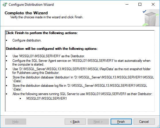 Replication in Sql Server - Configurazione Distribuzione 5 Passaggio