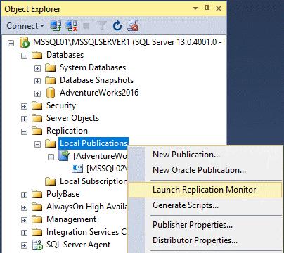 Replication in Sql Server - Monitoraggio Replica