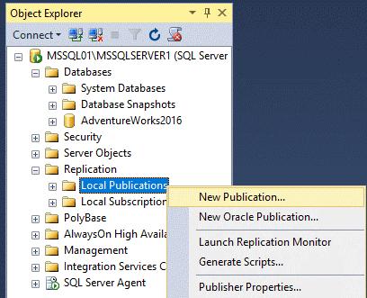 Replication in Sql Server - Configurazione Pubblicazione
