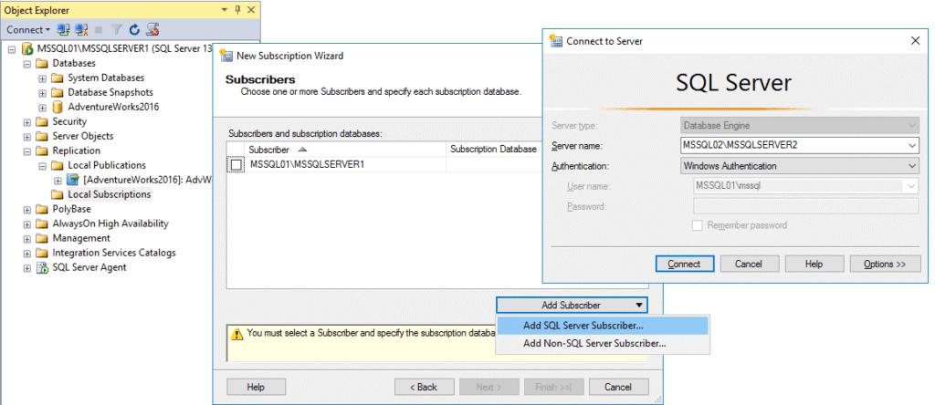 Replication in Sql Server - Configurazione Subscription 3 Passaggio