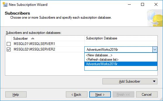Replication in Sql Server - Configurazione Subscription 4 Passaggio