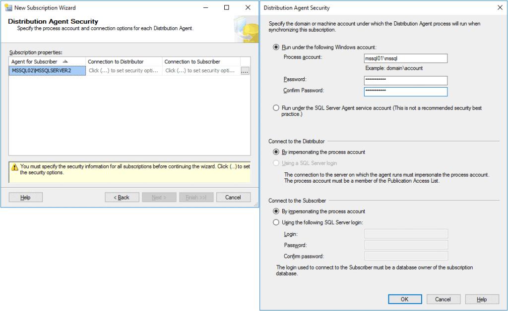 Replication in Sql Server - Configurazione Subscription 5 Passaggio