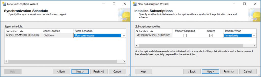 Replication in Sql Server - Configurazione Subscription 6 Passaggio