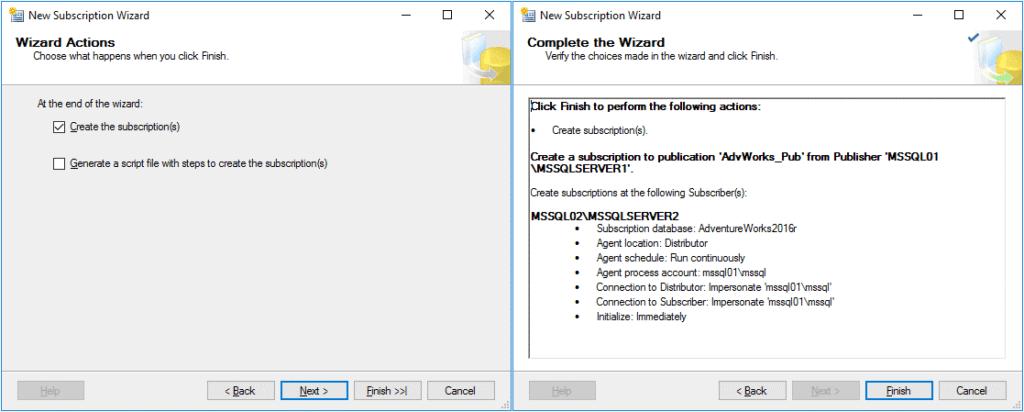 Replication in Sql Server - Configurazione Subscription 7 Passaggio