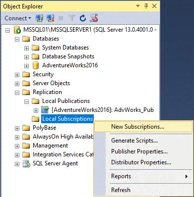Replication in Sql Server - Configurazione Subscription