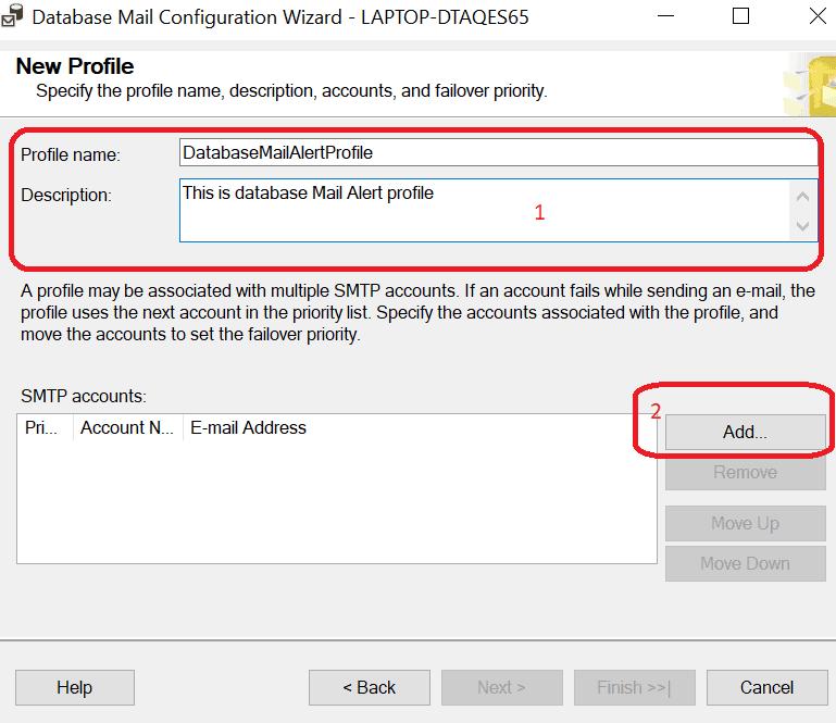 Configurare Server Mail in SQL Server - Nuovo Profilo