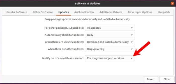 Aggiornare Ubuntu 21.04 - Software Aggiornamenti