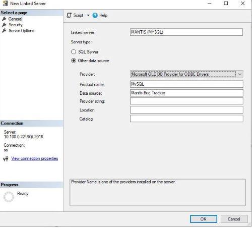 Sql Server e MySql - Creare linked server - Step 1